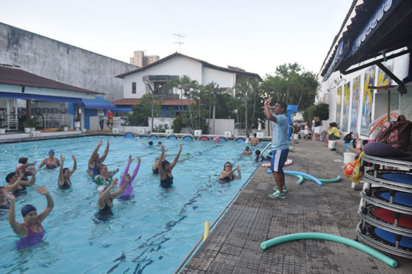 As atividades nas piscina são as mais procuradas pelo público da Tutubarão