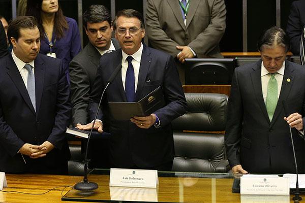 Primeiro discurso de Bolsonaro como presidente foi na solenidade no plenário do Congresso