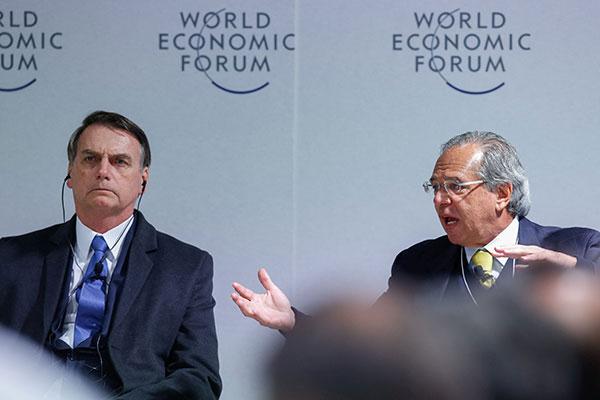 Bolsonaro e Guedes estão em Davos, no Fórum Econômico Mundial
