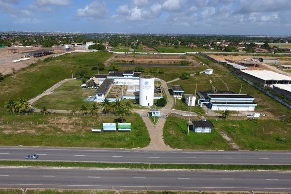 Vista aérea da Estação de Tratamento de Água de Extremoz