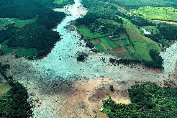 Rompimento da barragem a contento 1 da mina do Córrego do Feijão, em Brumadinho, destruiu parte da cidade mineira em janeiro