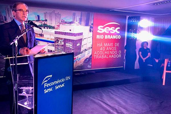 Marcelo Queiroz, presidente da Fecomércio/RN, durante evento