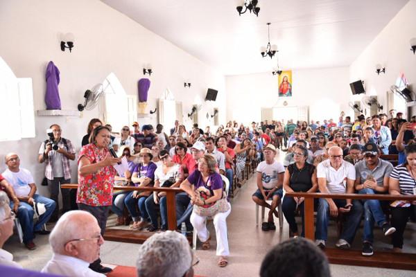 Governadora Fátima Bezerra durante a programação do Dia Mundial da Água, em Barra de Santana, Jucurutu