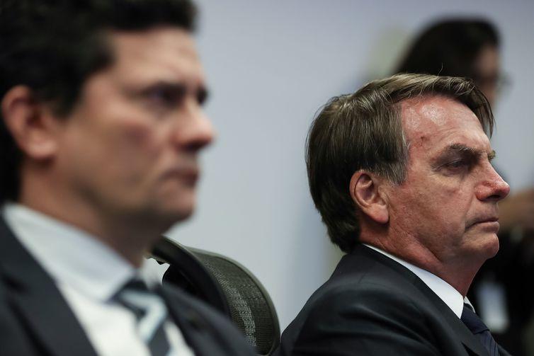 Bolsonaro confirmou que prometeu a Sérgio Moro indicação ao STF; Sérgio Moro e Jair Bolsonaro; Jair Bolsonaro e Sérgio Moro;Moro e Bolsonaro; Bolsonaro e Moro