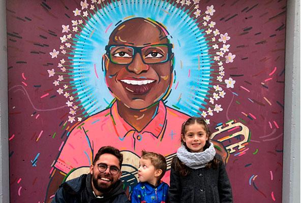 Intervenção em que Daniel Torres: Mural que ele pintou em homenagem ao músico carioca Evaldo dos Santos Rosa
