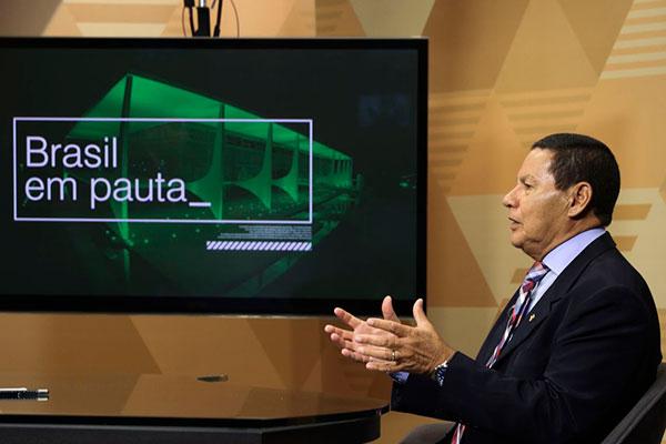 Vice-presidente Hamilton Mourão(PRTB) durante entrevista à Agência Brasil
