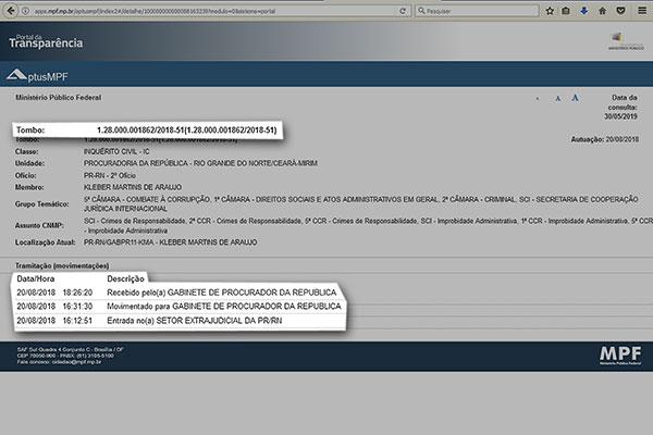 Portal do MPF/RN mostra que movimentação processual não tem atualização desde agosto/2018