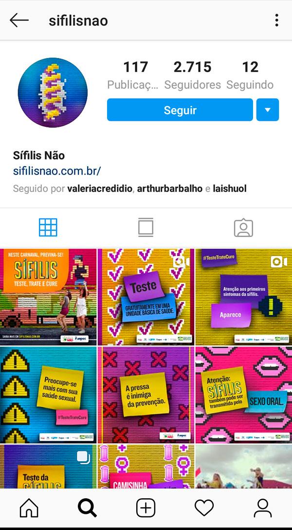 Perfil no Instagram constava ontem com 2.715 seguidores