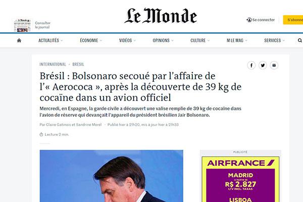 Jornal francês Le Monde chamou caso de Aerococa em matéria