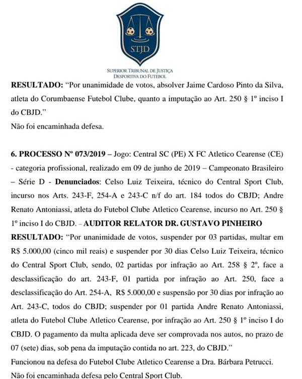 ABC anexou processo do STJD que suspende técnico Celso Teixeira