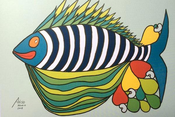 Peixes e cajus no elegante traço de Aécio Emerenciano