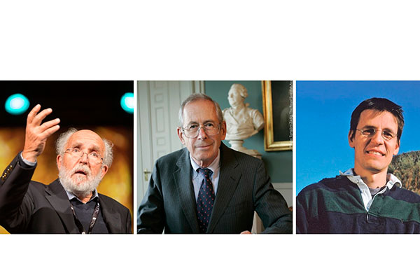 Vencedores do Prêmio Nobel de Física de 2019: Michel Mayor (esq.), James Peebles (centro) e Didier Queloz (dir.)