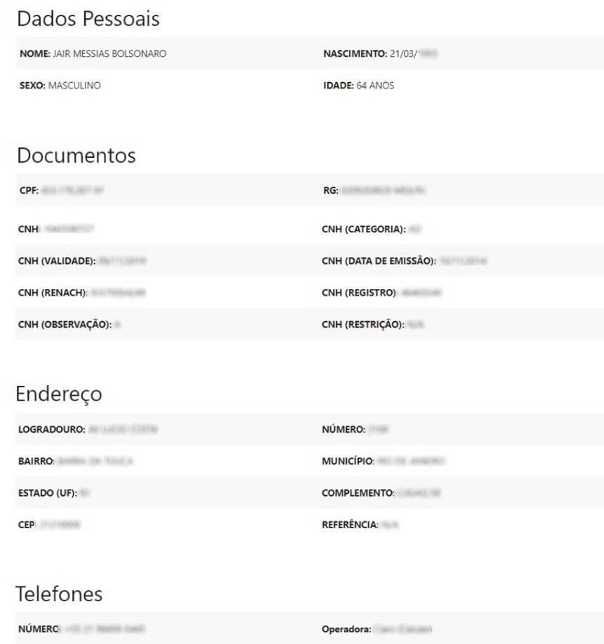 Site comprovou falha com ficha de dados do presidente Jair Bolsonaro e de outras personalidades