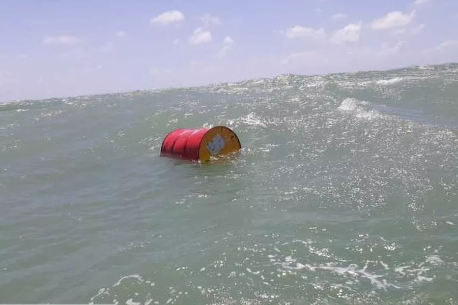 Barril foi encontrado na costa potiguar