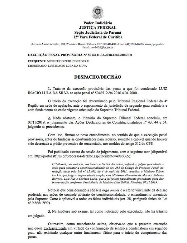 Despacho do juiz Danilo Pereira Jr. com a autorização para saída de Lula