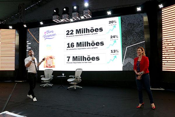Rodrigo Souza e Karina Mandel apresentaram os números da Tribuna do Norte durante o evento