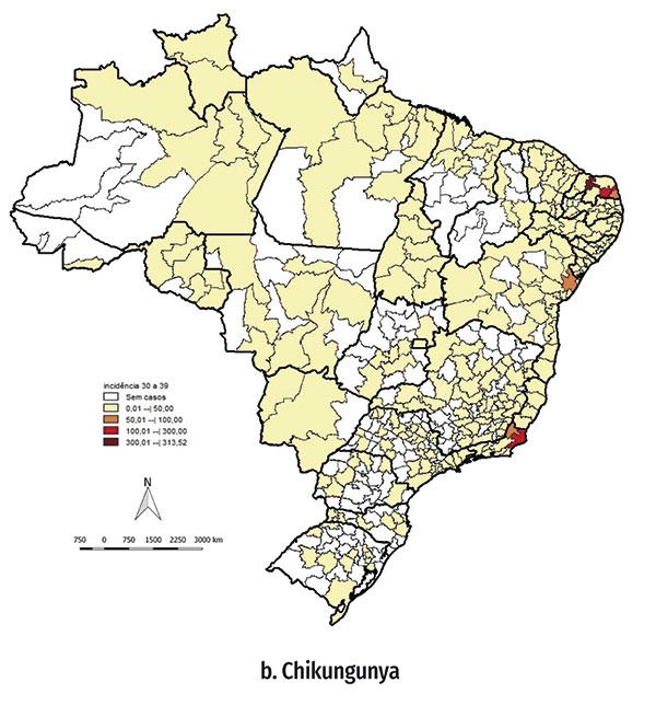 Mapa dos números de incidência nos Estados. Rio Grande do Norte, Bahia e Rio de Janeiro lideram os casos de dengue, chikungunya e Zika no Brasil.