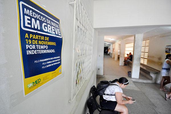 Na Policlínica da zona Oeste da cidade, sete médicos aderiram à paralisação e, segundo a administração da unidade a cada dia aumenta a adesão