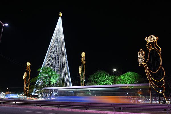 Com mais de 400 mil microlâmpadas de Led, a árvore foi acesa na noite de ontem, acompanhada pela população