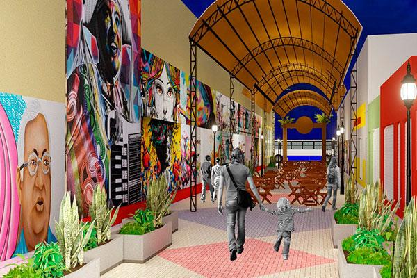 Projeto elaborado pela prefeitura prevê via para pedestres e eventos culturais. O piso será trocado, a iluminação com fiação subterrânea e uma cobertura com telha termo-acústica