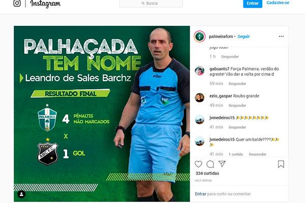 Na conta do clube do Instagram postagens ofendem o árbitro