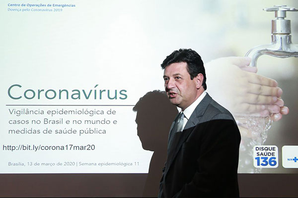 Ministro da Saúde, Luiz Henrique Mandetta,  atualizou número de casos confirmados no país