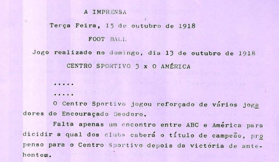 Recorte do jornal A Imprensa mostrava que o Centro Esportivo Natalense era o mais cotado a vencer o torneio de 1918, paralisado pela pandemia da gripe