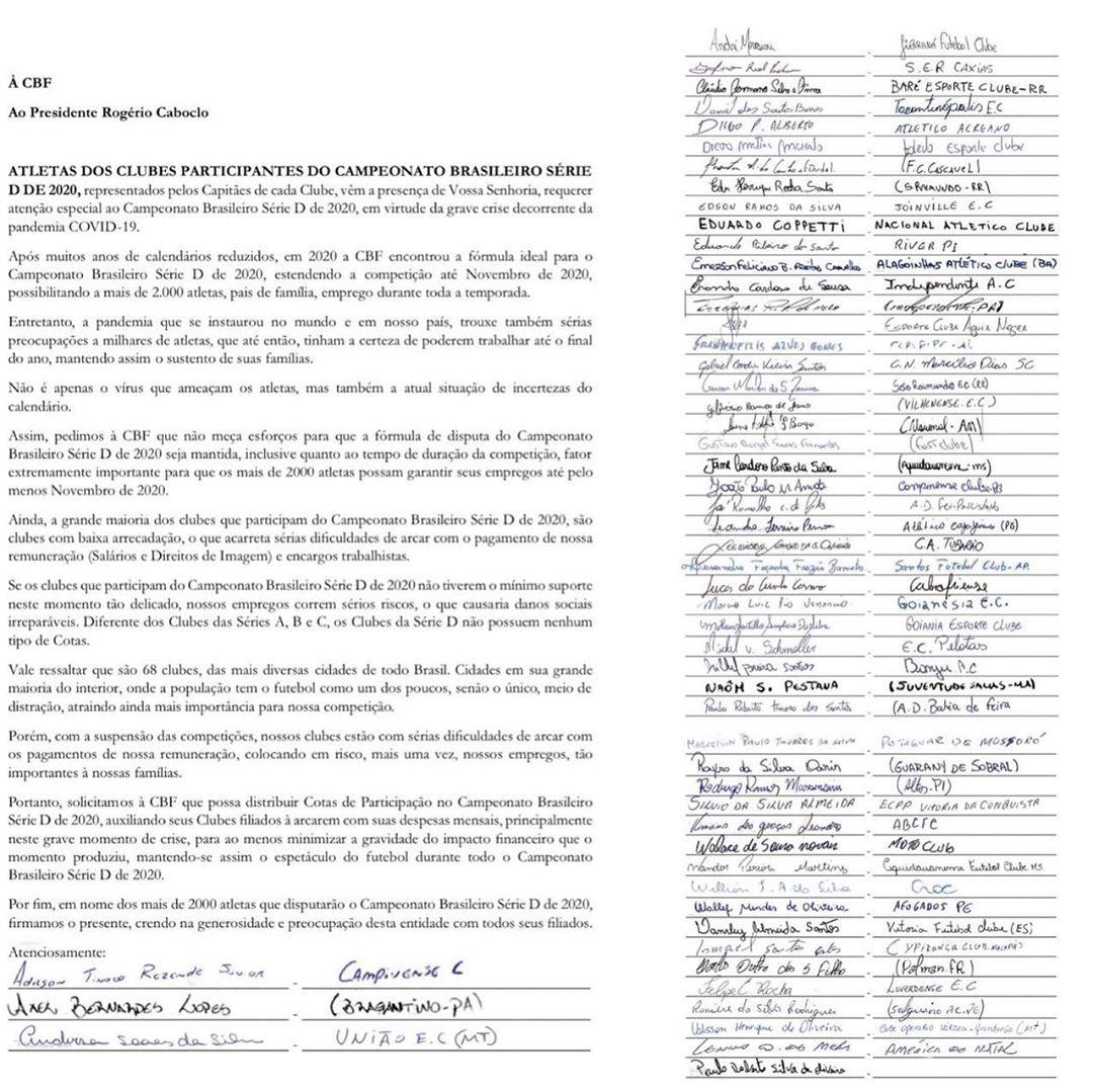 Documento enviado à CBF