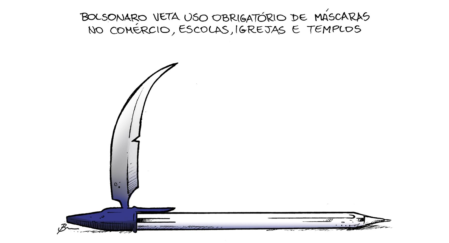 Veto de Bolsonaro ao uso obrigatório de máscaras em determinados locais é tema da charge de Brum