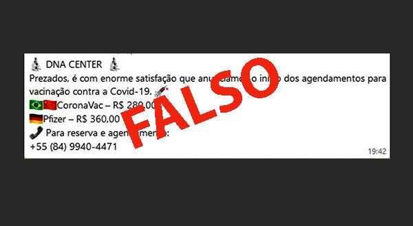 As mensagens falsas são enviadas via rede social