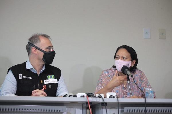 O ministro da Justiça, André Mendonça, e a governadora do Rio Grande do Norte, Fátima Bezerra