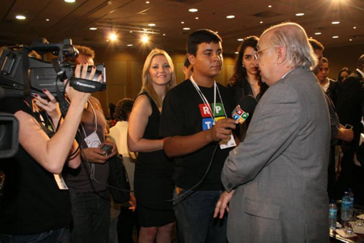 Eequipe  da TV Potiguar durante  evento realizado em Brasília