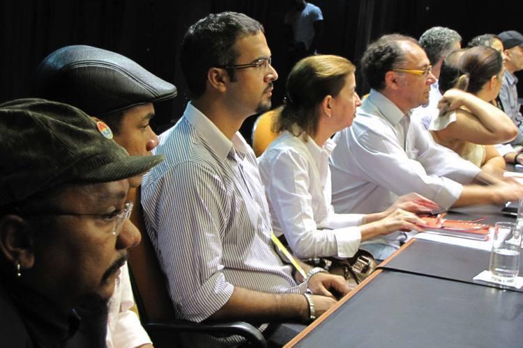 Os representantes estaduais das secretarias e fundações do NE marcaram presença. Na mesa, Chico César, da Paraíba, e Sanclair de Medeiros (representando a FJA), entre outros