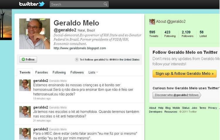 Geraldo Melo usou o Twitter para comentar sobre questões relacionadas aos homossexuais