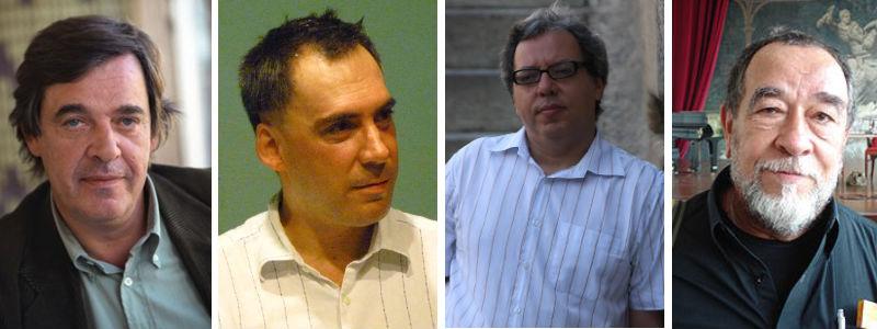 Miguel Sousa Tavares, escritor; Arnaldo Antunes, músico; Carlito Azevedo, poeta; e Fernando Morais, biógrafo