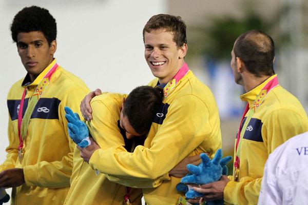 César Cielo  e Felipe França são os nadadores mais experientes da forte equipe do revezamento