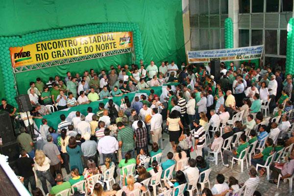 Dirigentes, filiados e militantes do PMDB participam do encontro do partido que foi marcado pela apresentação de pré-candidaturas