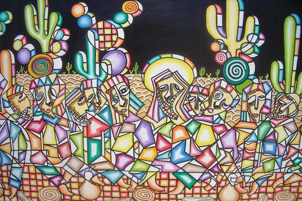 Entre as obras expostas, trabalhos de Assis Marinho, Carlos Sérgio Borges e Newton Avelino (foto)
