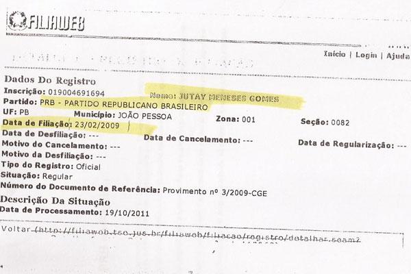Jutay Meneses está filiado a PRB da Paraíba desde 2009
