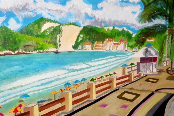 Fefeu encontrou na pintura um suporte para expressar memórias de um bairro que já foi vila