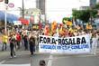 Os trabalhadores das mais diversas categorias participaram da passeata na Avenida Rio Branco